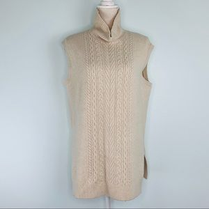 Loft Cream Sleeveless High Neck Sweater Sz M